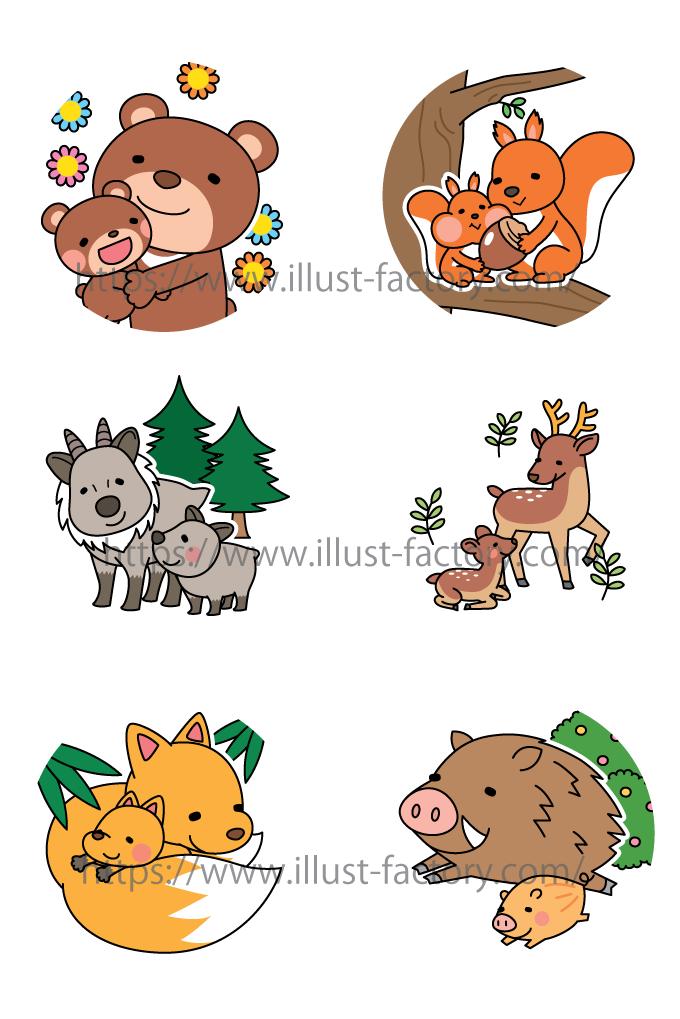 H138 動物の親子イラスト