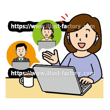 A282-1 リモートワーク Web会議のイラスト