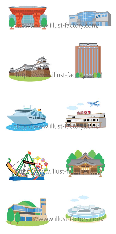 H136 石川県の地図上に配置する建物のイラスト