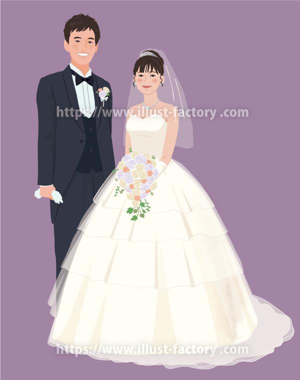 B89 線無しシンプルタッチ結婚式イラスト制作例