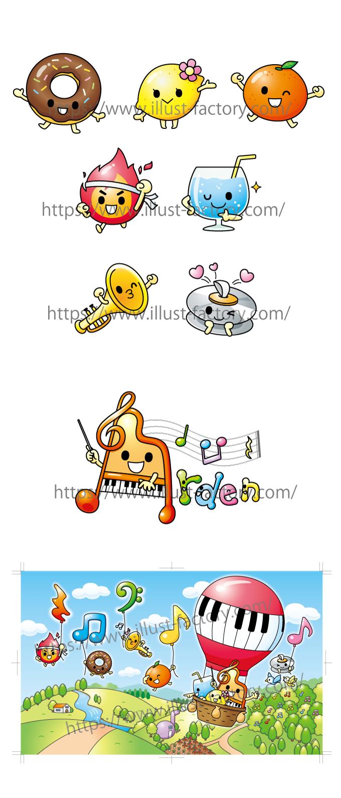 C95 音楽教室ゆるキャラ制作 音符モチーフキャラクター