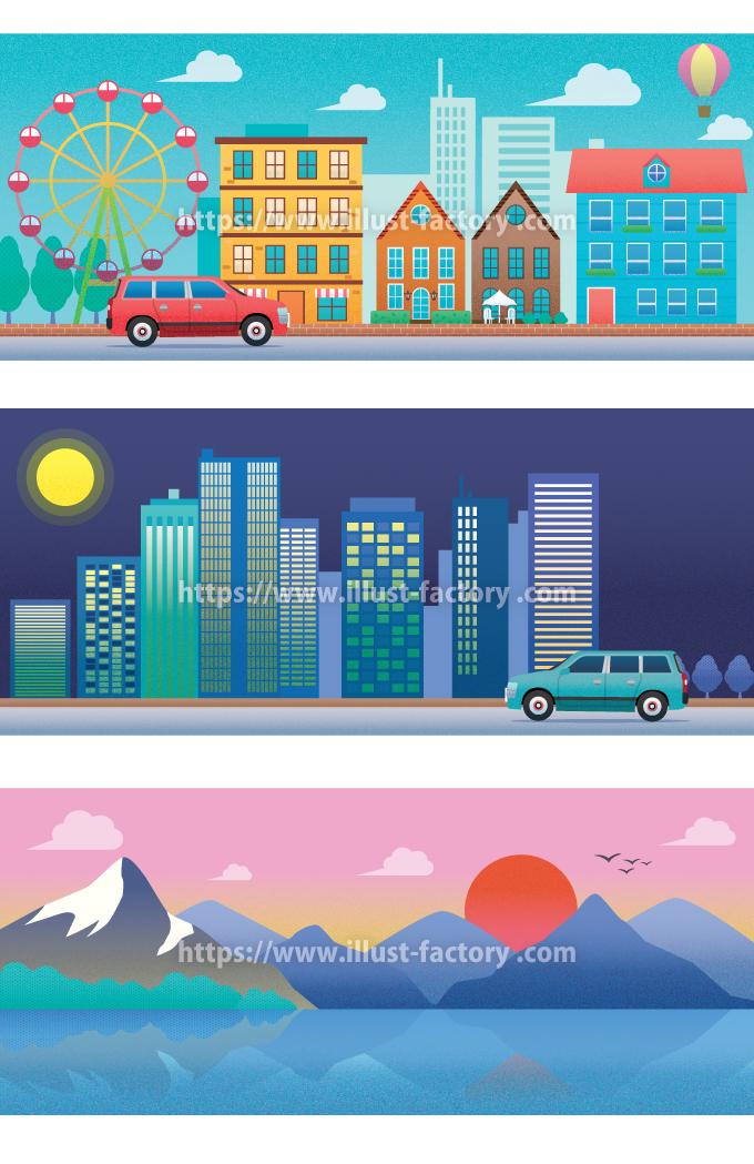 H139 レトロタッチの街並み・風景イラスト