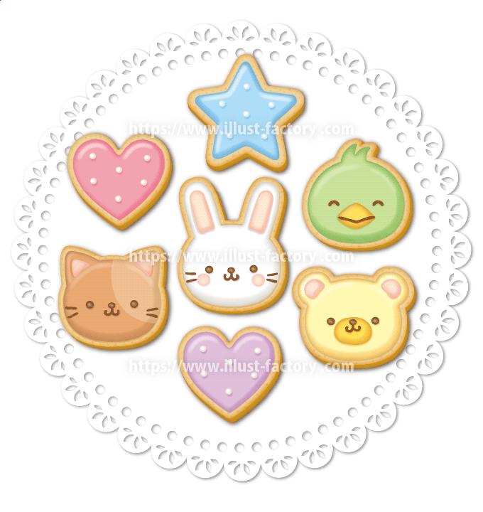 クッキー風の動物装飾イラスト ねこ・うさぎ・くま・ひよこ H140