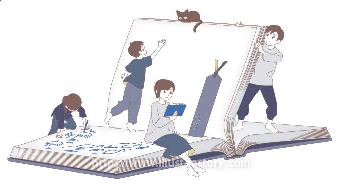 シンプルな線画タッチ 人物と本のイラスト A288
