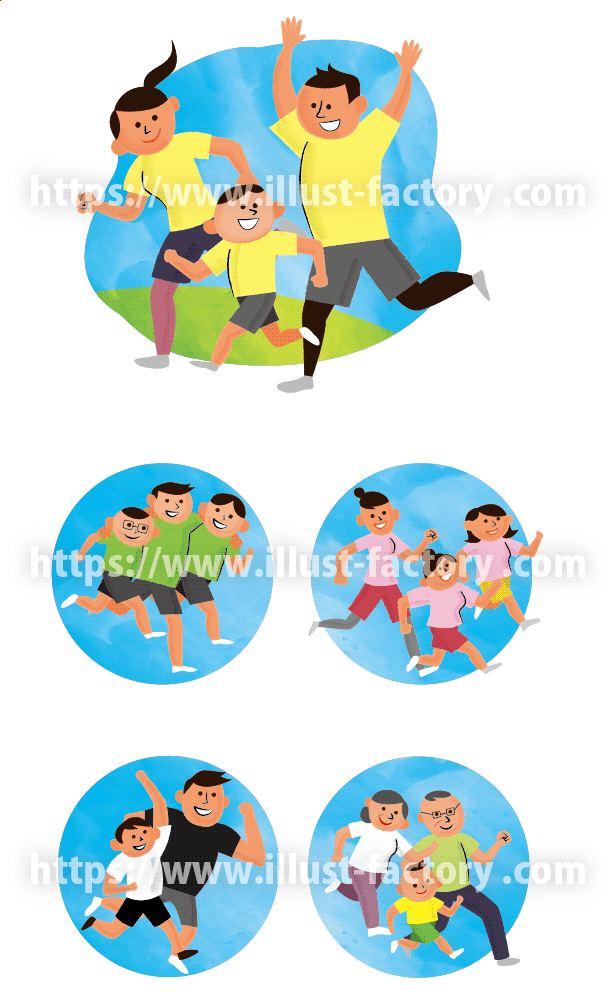 スポーツ運動 家族イラスト A293