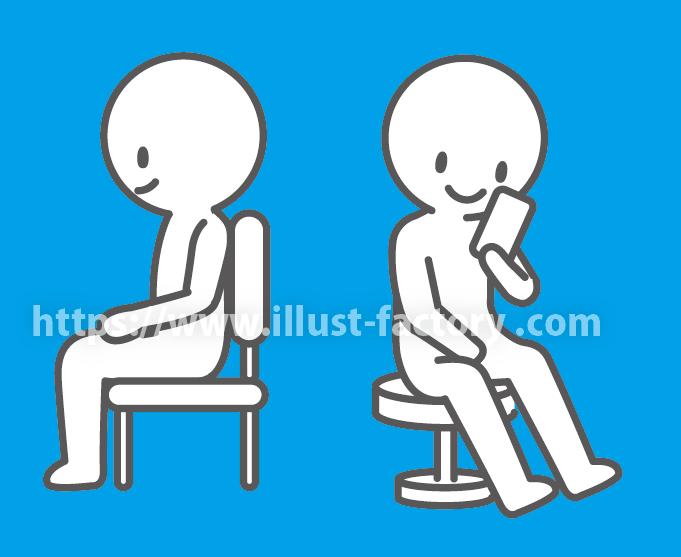 椅子に座るポーズのかわいい棒人間イラスト PG18