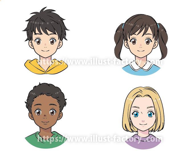 アニメ風タッチ 小中学校の教科書や教育関連のDM挿絵 L68-5