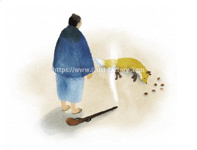 児童文学「ごんぎつね」の挿絵 手描きタッチ H156-4