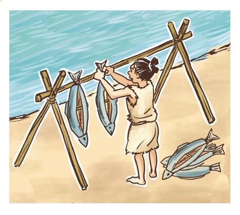 縄文時代の暮らしの様子イラスト 手描きタッチ G507-2