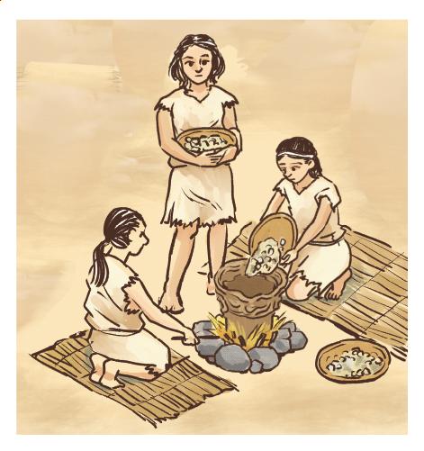 縄文時代の暮らしの様子イラスト 手描きタッチ G507-5