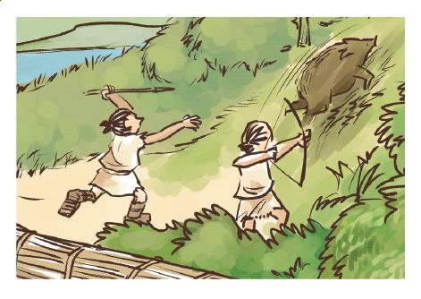 縄文時代の暮らしの様子イラスト 手描きタッチ G507-3