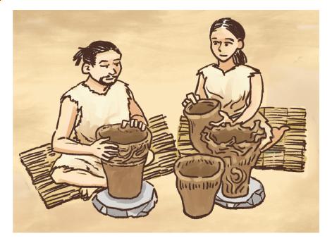縄文時代の暮らしの様子イラスト 手描きタッチ G507-6