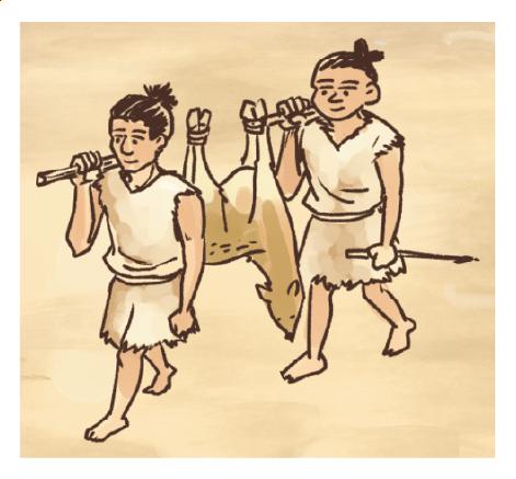 縄文時代の暮らしの様子イラスト 手描きタッチ G507-4