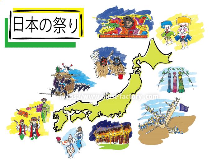 日本のお祭りイラスト 教材用手描き風タッチ G509