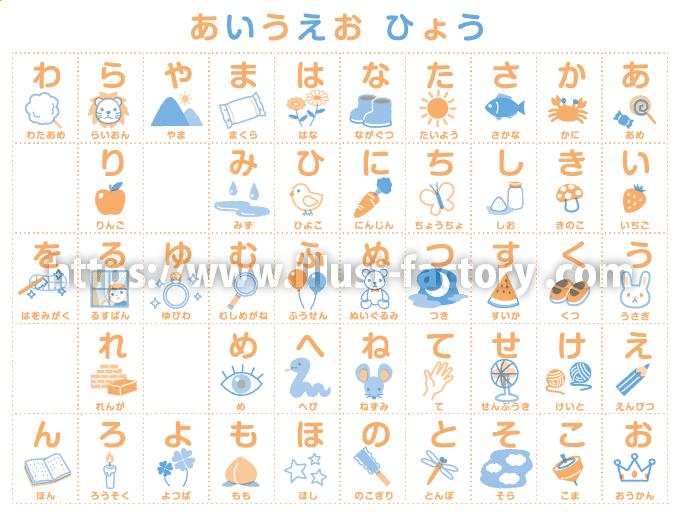 あいうえおの50音表子供向けイラスト 教材用タッチ H159-2