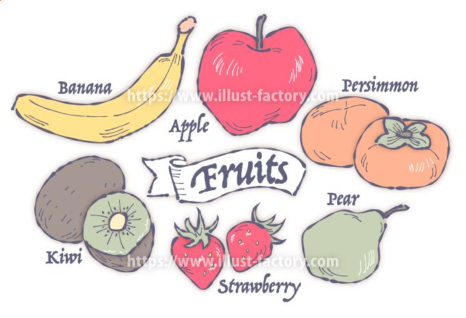 フルーツの集合イラスト ペン画風タッチ H162