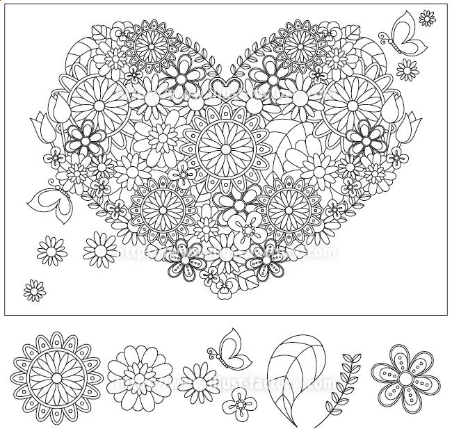 大人向けの、細かな花の塗り絵 シンプルな線画タッチ H163