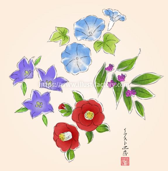 筆でサラッと描いたような日本画風の花のイラスト H164