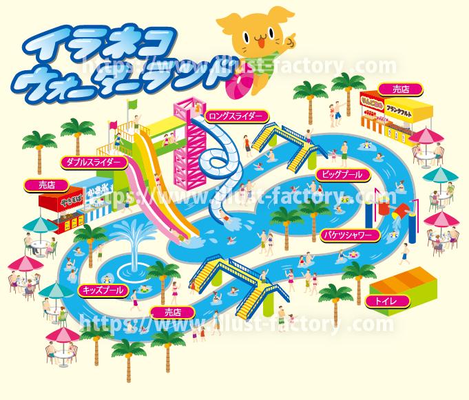 架空の屋外水泳場のイラストマップ M51