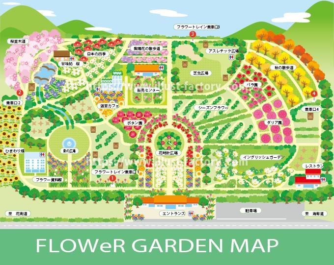 架空のテーマパーク・フラワーパークの園内イラストマップ M52