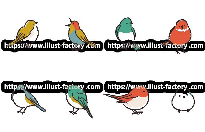 可愛い小鳥達ののイラスト 手書き風タッチ H175