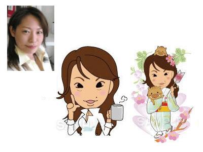 P1-1 コミカルなデフォルメタッチ似顔絵制作例 コーヒーを持つ女性・着物姿で猪の子(瓜坊)を抱き弓を持つ女性