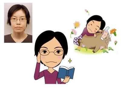 P1-2 コミカルなデフォルメタッチ似顔絵制作例 本を持つ女性・猪と眠る女性