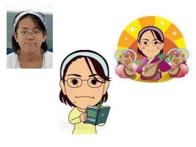 P1-3 コミカルなデフォルメタッチ似顔絵制作例 メモを取る女性・猪と一緒に琵琶を持つ女性