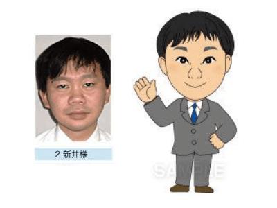 P3-2 デフォルメを利かせたシンプルな似顔絵制作例 片手を上げる男性