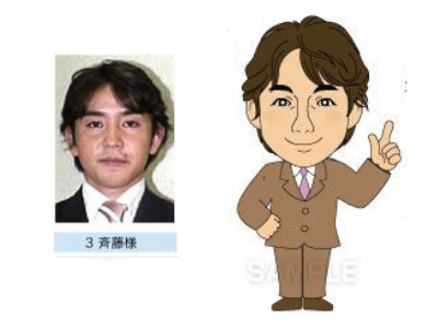 P3-3 デフォルメを利かせたシンプルな似顔絵制作例 指差しをする男性