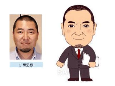 P4-2 特徴を捉えたシンプルな似顔絵制作例 書類を持つ男性
