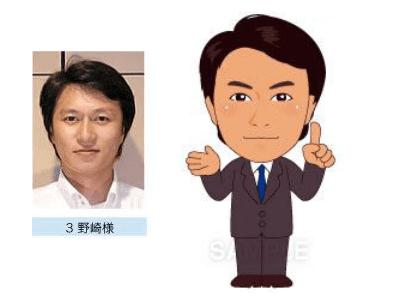 P4-3 特徴を捉えたシンプルな似顔絵制作例 指差しをする男性