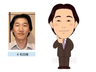 P4-4 特徴を捉えたシンプルな似顔絵制作例 顎に手を添える男性