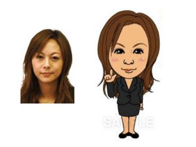 P4-6 特徴を捉えたシンプルな似顔絵制作例 指差しをする女性