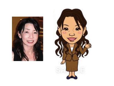 P4-7 特徴を捉えたシンプルな似顔絵制作例 手を差し向ける女性
