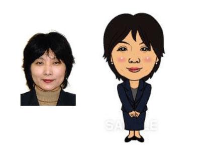 P4-8 特徴を捉えたシンプルな似顔絵制作例 笑顔の女性