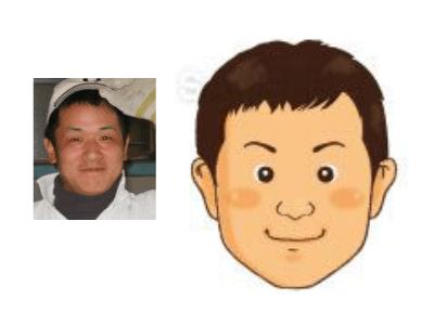 P5-1 手描き風の優しいタッチ似顔絵制作例 笑顔の男性
