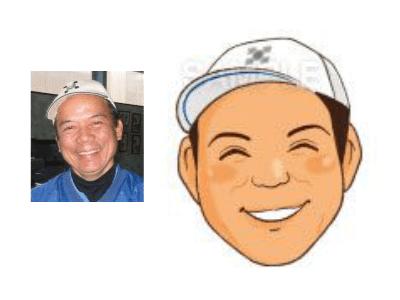 P5-2 手描き風の優しいタッチ似顔絵制作例 笑顔の男性