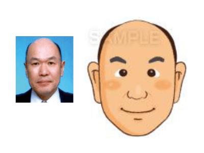 P5-3 手描き風の優しいタッチ似顔絵制作例 笑顔の男性