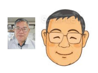 P5-4 手描き風の優しいタッチ似顔絵制作例 笑顔の男性