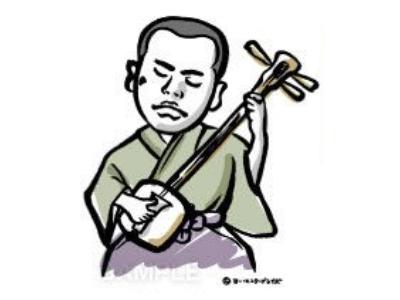 P13-2 漫画風・筆タッチ風似顔絵制作例 三味線を弾く男性