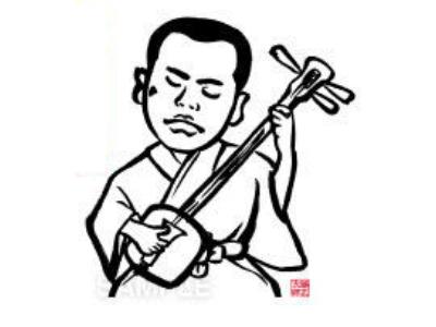 P13-3 漫画風・筆タッチ風似顔絵制作例 三味線を弾く男性